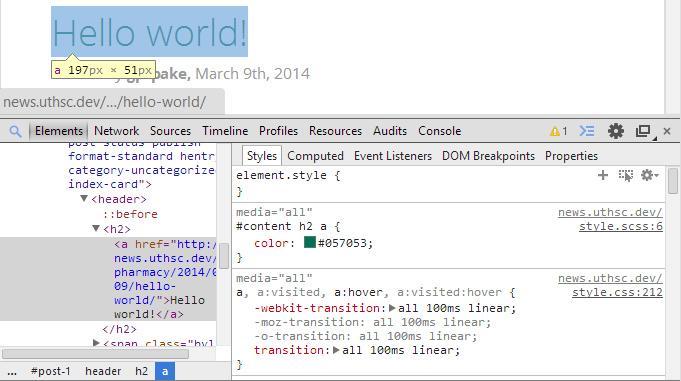 Screenshot of Chrome Dev Tools